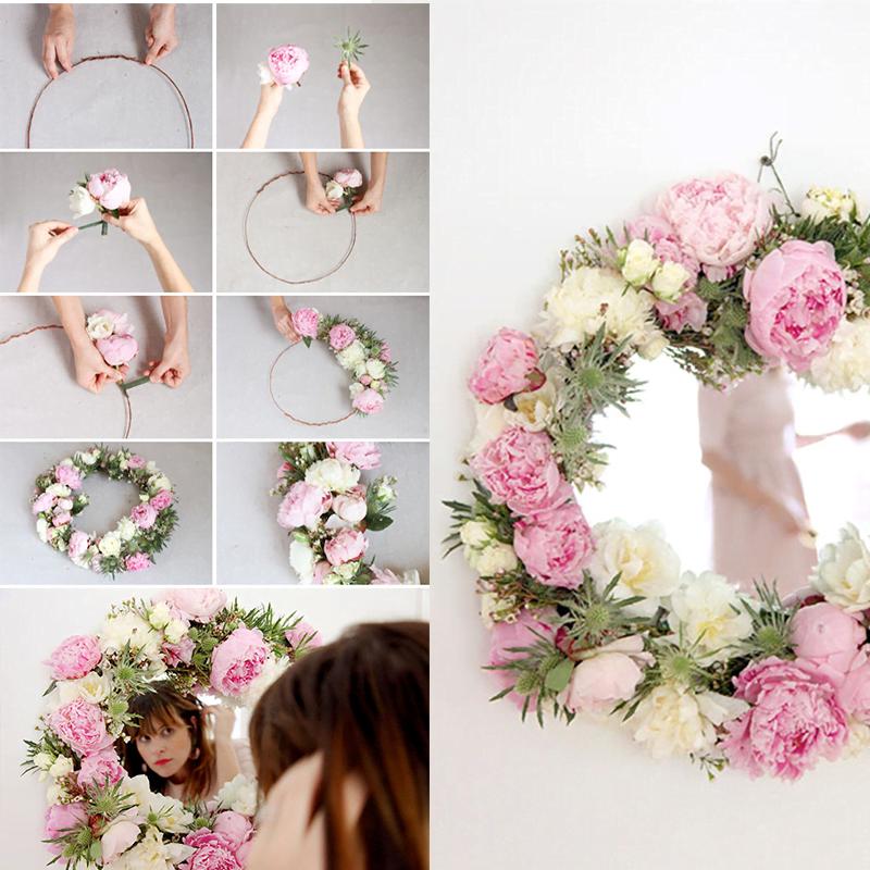 Diy miroir avec cadre en fleurs for Coupe de miroir sur mesure