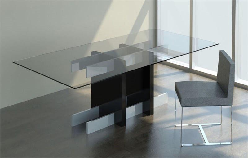 La table en verre for Miroir et verre concept