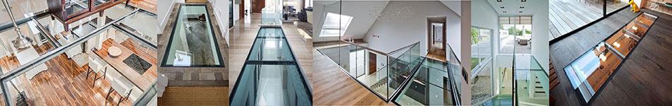 plancher en verre antidérapant sur mesure