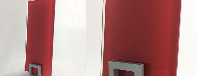 verre laqué rouge pour crédence sur mesure promo